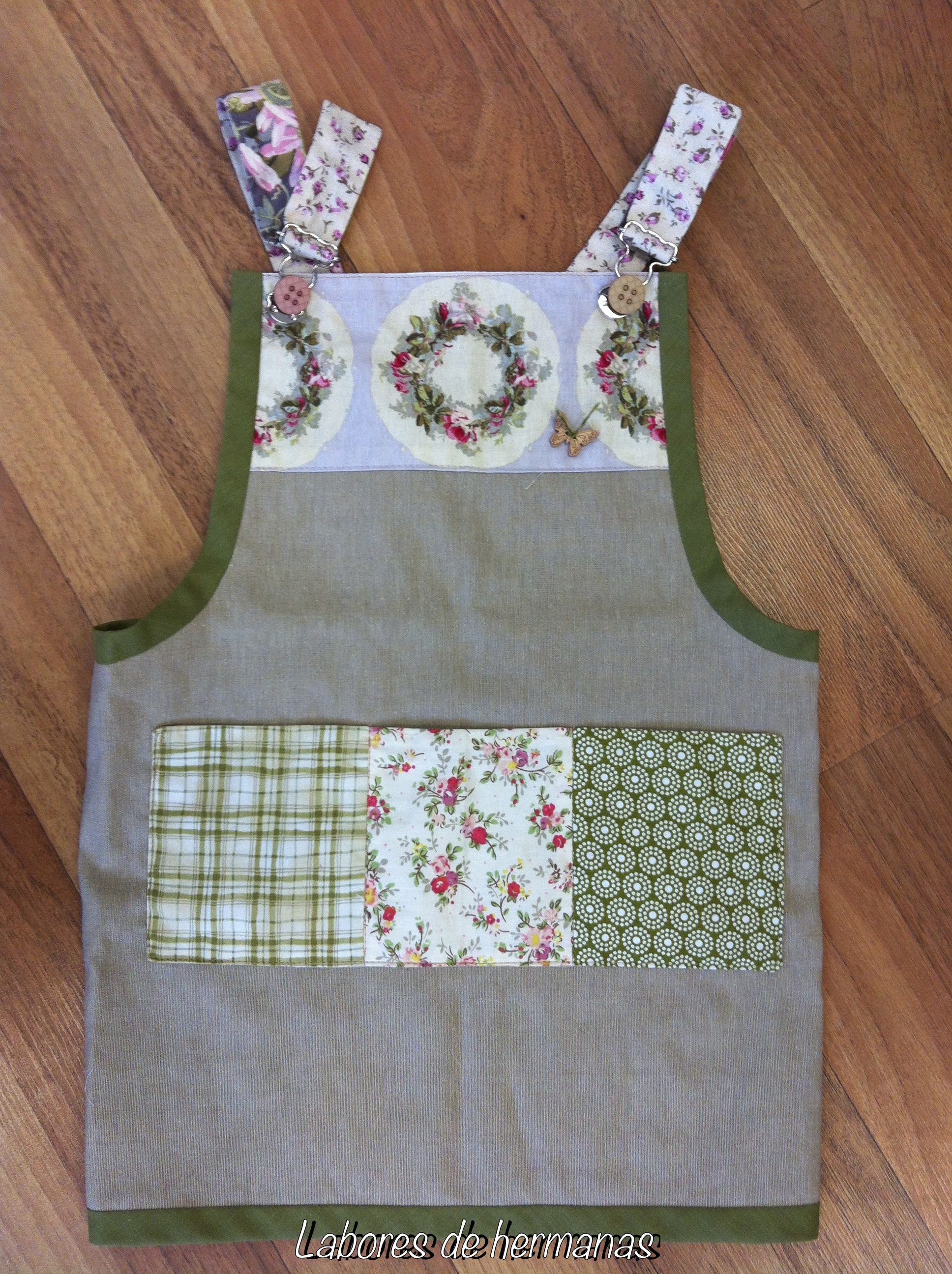 Delantal para ni a pinny for girls labores de hermanas - Patchwork para cocina ...